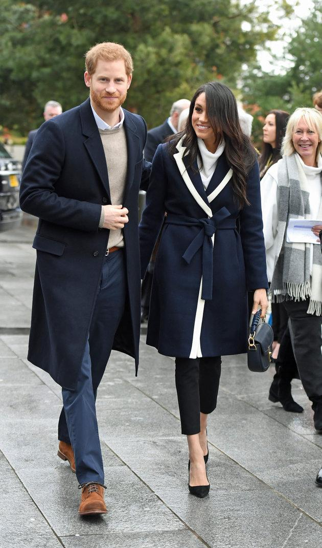 Prince Harry and Meghan Markle on a walkabout during a visit to Millennium Point in Birmingham