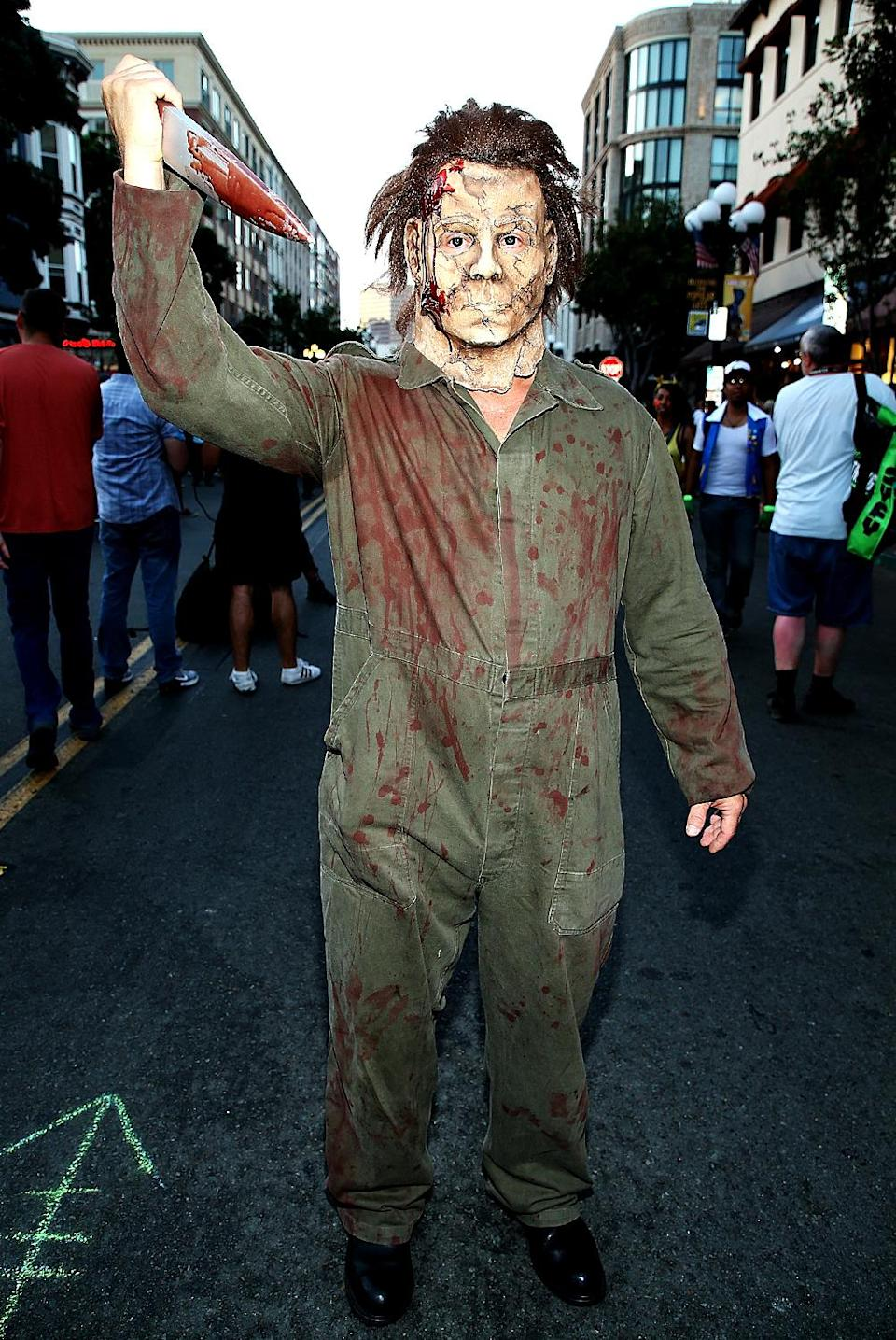 <p>Cosplayer dressed as Jason Voorhies at Comic-Con International on July 20, 2018, in San Diego. (Photo: Phillip Faraone/Getty Images) </p>