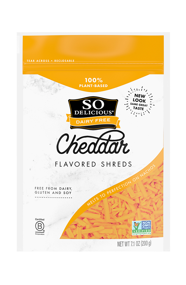 """<p><strong>So Delicious</strong></p><p>sodeliciousdairyfree.com</p><p><a href=""""https://sodeliciousdairyfree.com/dairy-free-foods/dairy-free-shreds/cheddar"""" rel=""""nofollow noopener"""" target=""""_blank"""" data-ylk=""""slk:Shop Now"""" class=""""link rapid-noclick-resp"""">Shop Now</a></p><p>Frankly, WH's testers were hard to impress when it came to cheddar-style vegan shredded cheese. With its almost-neon color, this cheese turned a few heads on looks alone, and turned out to be a crowd-pleaser, thanks to its salty and truly cheesy taste.</p>"""