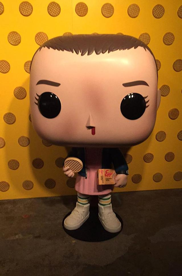 "<p>A life-sized version of an Eleven <a href=""https://www.yahoo.com/tv/funko-pop-twin-peaks-parks-slideshow-wp-151613852.html"" data-ylk=""slk:Funko Pop!;outcm:mb_qualified_link;_E:mb_qualified_link"" class=""link rapid-noclick-resp newsroom-embed-article"">Funko Pop!</a> figure.<br><br>(Photo: Giana Mucci/Yahoo) </p>"