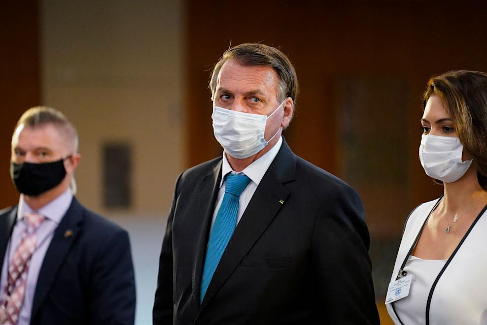 Jair Bolsonaro, President of Brazil, leaves after addressing the 76th Session of the UN General Assembly on September 21, 2021 in New York. (Photo by John Minchillo / POOL / AFP) (Photo by JOHN MINCHILLO/POOL/AFP via Getty Images)