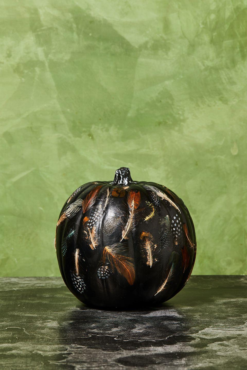 """<p>Once you've painted your pumpkin black and it's dry, grab some faux feathers and stick them to the pumpkin using Mod Podge. Then, use a brush with a little Mod Podge to smooth out the feathers on top, and let dry. </p><p><a class=""""link rapid-noclick-resp"""" href=""""https://www.amazon.com/obmwang-20-25cm-Pheasant-Feathers-Decorations/dp/B088K8KCHL/ref=sr_1_7?tag=syn-yahoo-20&ascsubtag=%5Bartid%7C10055.g.2592%5Bsrc%7Cyahoo-us"""" rel=""""nofollow noopener"""" target=""""_blank"""" data-ylk=""""slk:SHOP FEATHERS"""">SHOP FEATHERS</a></p>"""