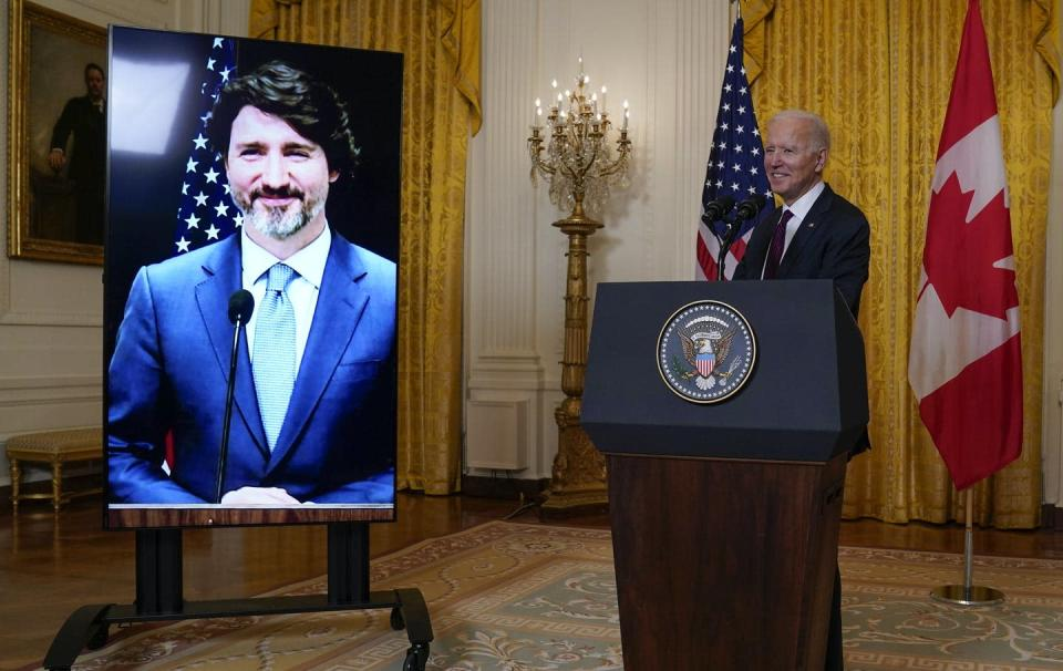 "<span class=""caption"">U.S. President Joe Biden speaks after holding a virtual meeting with Canadian Prime Minister Justin Trudeau, in the East Room of the White House on Feb. 23, 2021, in Washington. </span> <span class=""attribution""><span class=""source"">(AP Photo/Evan Vucci)</span></span>"