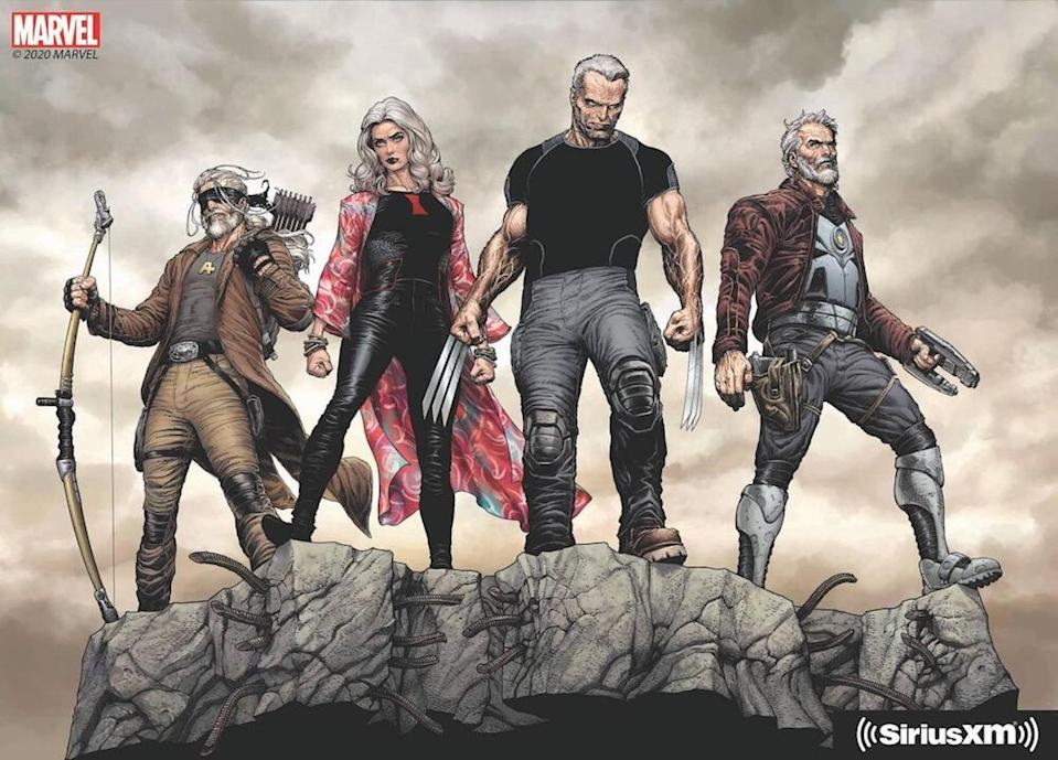 A drawing of old, gray versions of Hawkeye, Black Widow, Wolverine, and Star-Lord standing on a rock in Marvel's Wastelanders