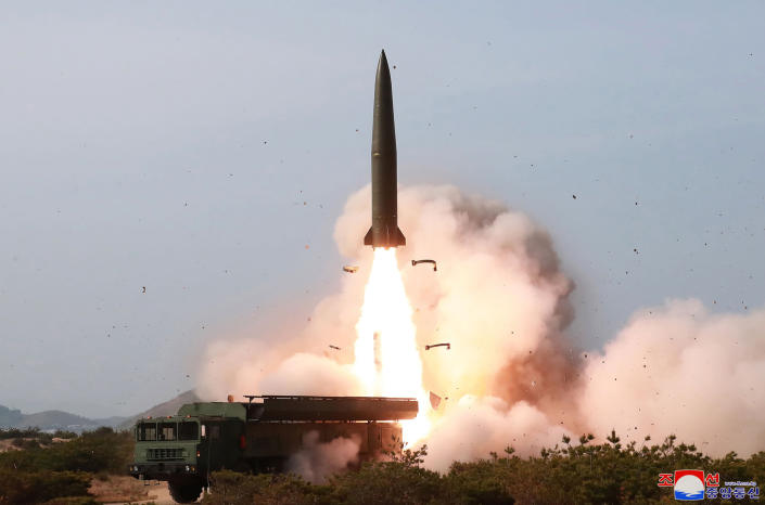 """FILE - This Saturday, May 4, 2019, file photo provided by the North Korean government shows a test of weapon systems, in North Korea. North Korea's test of what appears to be new short-range ballistic missile may not have been a direct threat to the United States, but experts warn it's almost certainly an omen of bigger problems on the horizon. Independent journalists were not given access to cover the event depicted in this image distributed by the North Korean government. The content of this image is as provided and cannot be independently verified. Korean language watermark on image as provided by source reads: """"KCNA"""" which is the abbreviation for Korean Central News Agency. (Korean Central News Agency/Korea News Service via AP, File)"""
