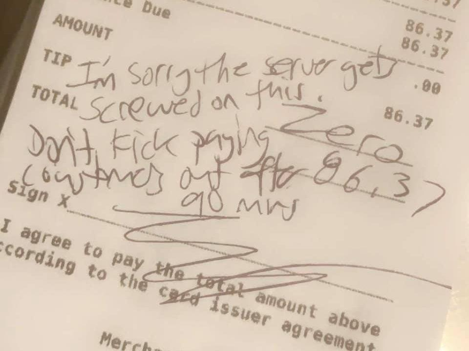 <p>A photo of the bill received by a waitress at The Glenbrook Brewery in Michigan</p> (Jamie Lauren/Facebook)