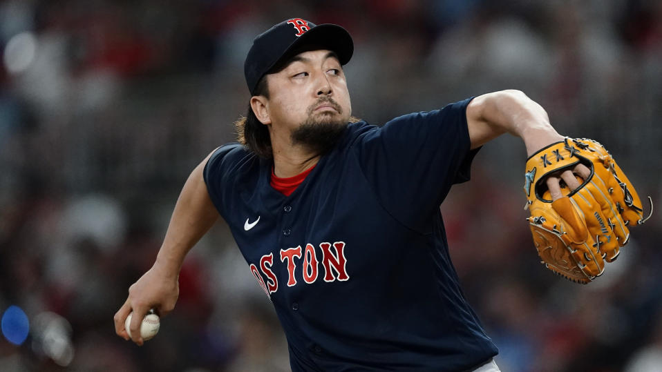 Boston Red Sox relief pitcher Hirokazu Sawamura works the fifth inning of the team's baseball game against the Atlanta Braves on Wednesday, June 16, 2021, in Atlanta. (AP Photo/John Bazemore)