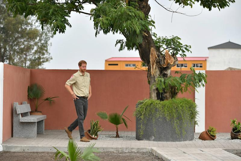 DIRICO, ANGOLA - SEPTEMBER 27: Prince Harry, Duke of Sussex walks on Princess Diana Street on day five of the royal tour of Africa on September 27, 2019 in Dirico, Angola. The Duke is visiting the minefield where his late mother, the Princess of Wales,. This is part of the Duke and Duchess of Sussex's royal tour to South Africa. (Photo by Pool/Samir Hussein/WireImage)
