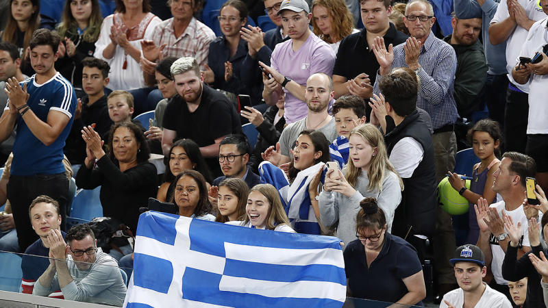 Greek spectators, pictured here watching Stefanos Tsitsipas in action at the Australian Open.