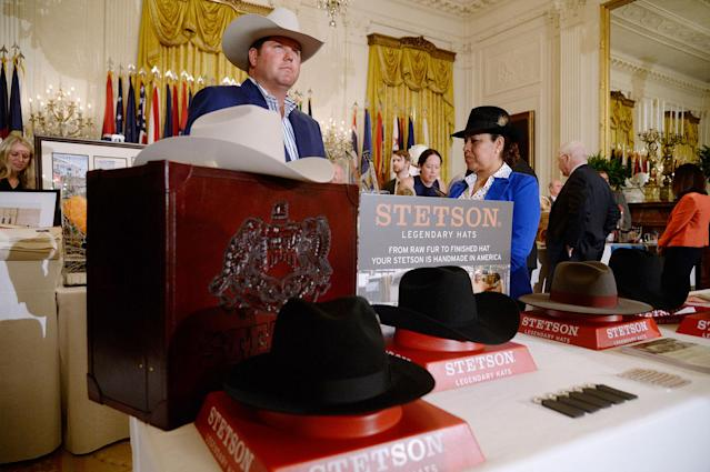 "<p>U.S.-made products from all 50 states, including Stetson hats, are on display at the White House as part of a ""Made in America"" product showcase event in Washington, D.C. on July 17, 2017. (Olivier Douliery/AFP/Getty Images) </p>"