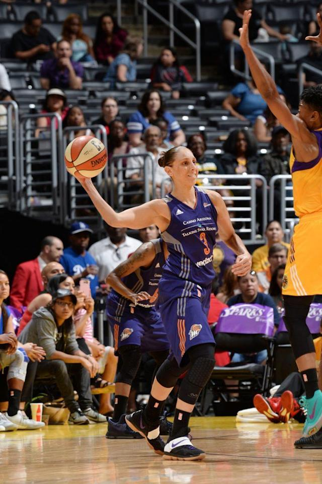 "LOS ANGELES, CA – JUNE 18: <a class=""link rapid-noclick-resp"" href=""/wnba/players/628/"" data-ylk=""slk:Diana Taurasi"">Diana Taurasi</a> #3 of the <a class=""link rapid-noclick-resp"" href=""/wnba/teams/pho/"" data-ylk=""slk:Phoenix Mercury"">Phoenix Mercury</a> passes the ball during a game against the <a class=""link rapid-noclick-resp"" href=""/wnba/teams/los/"" data-ylk=""slk:Los Angeles Sparks"">Los Angeles Sparks</a> on June 18, 2017 at STAPLES Center in Los Angeles, California. (Juan Ocampo/NBAE via Getty Images)"
