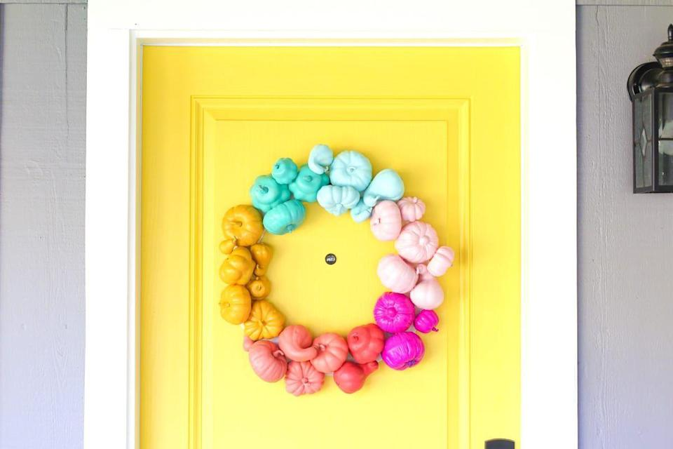 "<p>Who says bright colors end with summer? Paint mini pumpkins your favorite bright colors and use them to make a wreath. As long as there's pumpkins involved, it's still seasonally appropriate. Get the tutorial at <a href=""https://lovelyindeed.com/make-a-colorful-halloween-wreath-in-about-an-hour/"" rel=""nofollow noopener"" target=""_blank"" data-ylk=""slk:Lovely Indeed"" class=""link rapid-noclick-resp"">Lovely Indeed</a>.</p><p><a class=""link rapid-noclick-resp"" href=""https://www.amazon.com/dp/B00889Z4EM/?tag=syn-yahoo-20&ascsubtag=%5Bartid%7C10057.g.2554%5Bsrc%7Cyahoo-us"" rel=""nofollow noopener"" target=""_blank"" data-ylk=""slk:BUY NOW"">BUY NOW</a> <strong><em>Pink Acrylic Paint, $5</em></strong></p>"