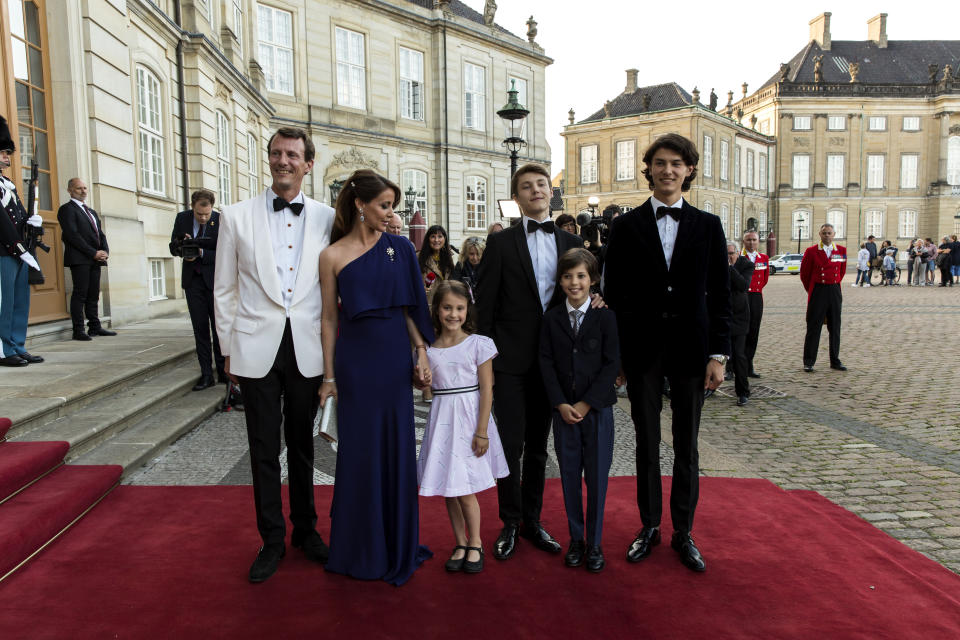 Prince Joachim, Princess Marie and their children posing during arrival at the Royal Palace where Queen Margrethe of Denmark host a dinner party celebrating the 50th  birthday of Prince Joachim on June 7, 2019 in Copenhagen, Denmark. From September this year until the summer 2020, Prince Joachim will follow France's highest-ranking military leadership training, and he and his family will move to Paris. This follows an invitation from the French Minister of Defense.