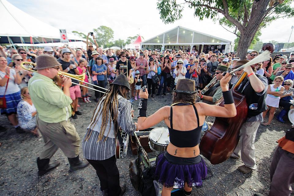 Buskers do an impromptu performance for festival goers at the 2015 Byron Bay Bluesfest on April 3, 2015 i