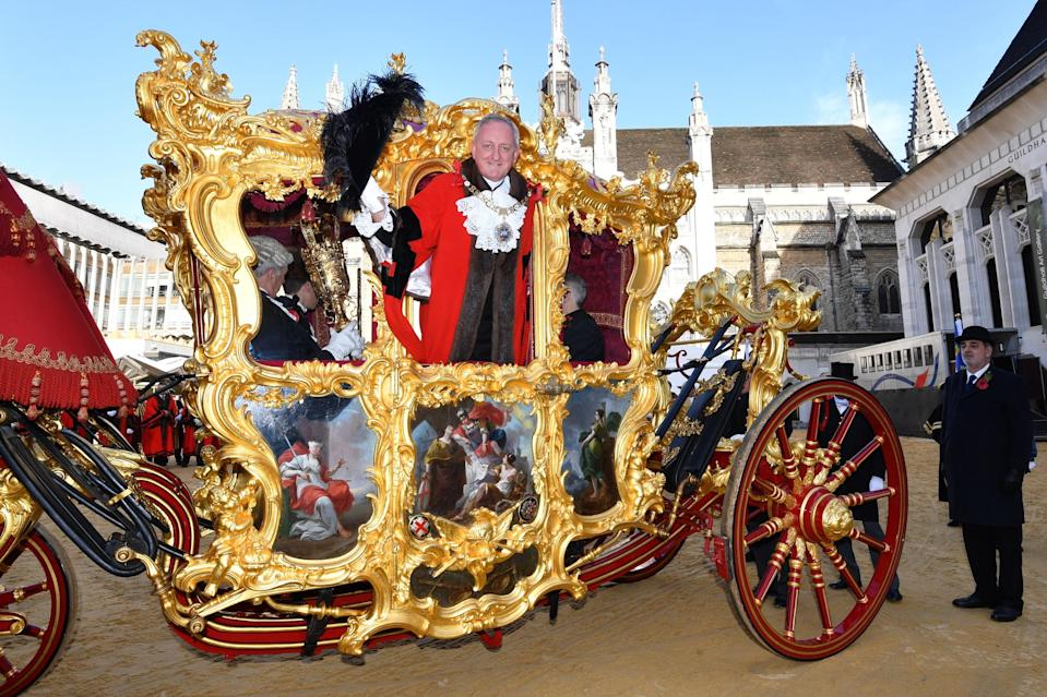 The Lord Mayor of the City of London, Peter Estlin, boards his ceremonial coach. Photo: John Stillwell/PA