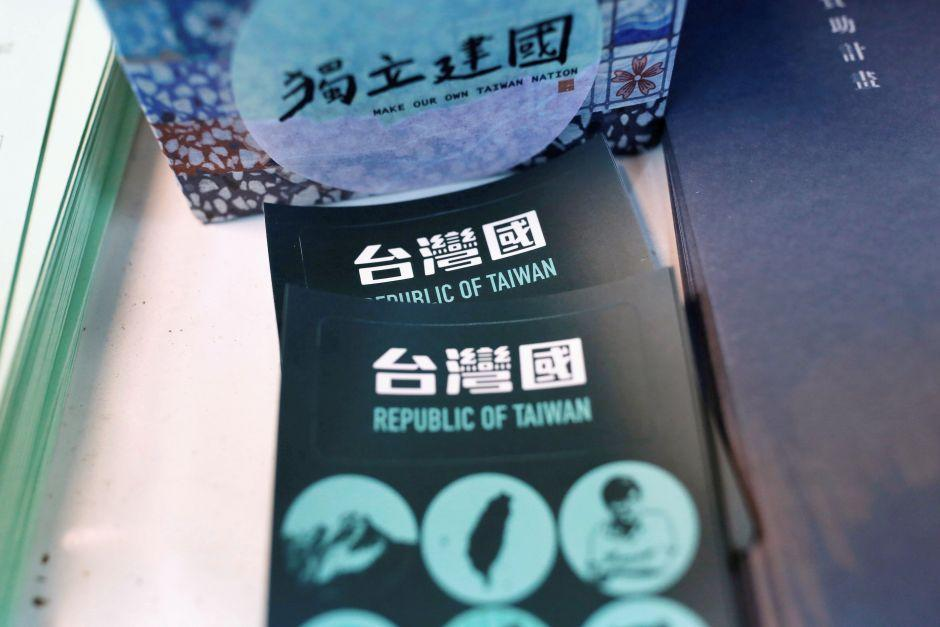 Stickers to put on Taiwan passports are pictured at Taiuan-e-tian shop in Taipei