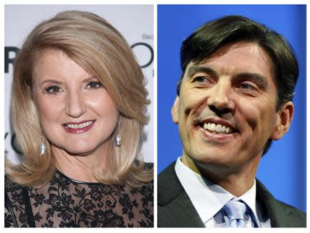 """A file combination photo shows Arianna Huffington (L) arriving for Glamour Magazine's """"Women Of The Year"""" event in New York on November 11, 2013, and Chairman and CEO of AOL Tim Armstrong smiling during a panel session at The Cable Show in Boston, Massachusetts on May 21, 2012. REUTERS/Carlo Allegri/Jessica Rinaldi/Files"""