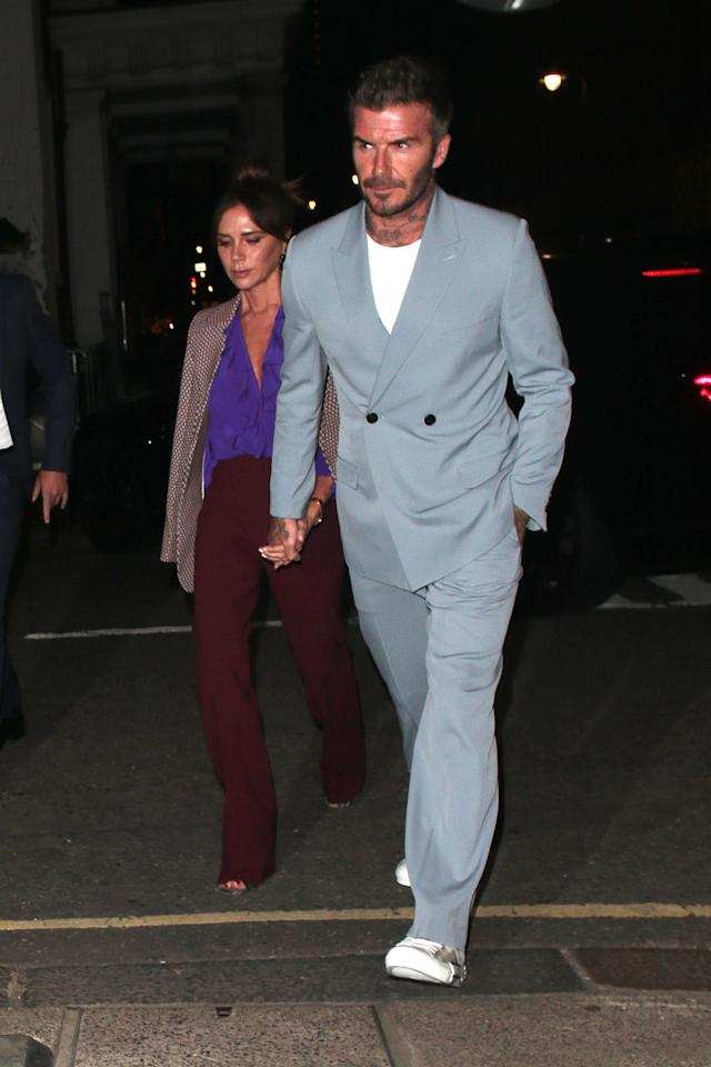 """<p>WHAT: Dior</p> <p>WHERE: With Victoria Beckham during London Fashion Week</p> <p>WHEN: September 15, 2019</p> <p>WHY: Our fall color palette is officially """"The Beckham Family.""""</p>"""