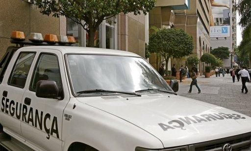 A security van is seen in front of a shopping mall in Sao Paulo in 2006