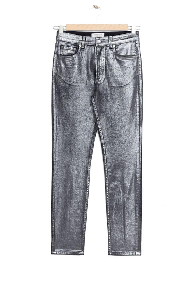 "<p>""J-Boy"" by Phoenix in pants form. </p><p><strong>BUY IT:</strong> & Other Stories, $85; <a rel=""nofollow"" href=""http://www.stories.com/us/Ready-to-wear/Trousers_Shorts/Denim/Metallic_Cropped_Jeans/102345509-0504949001.2"">stories.com</a>.</p>"