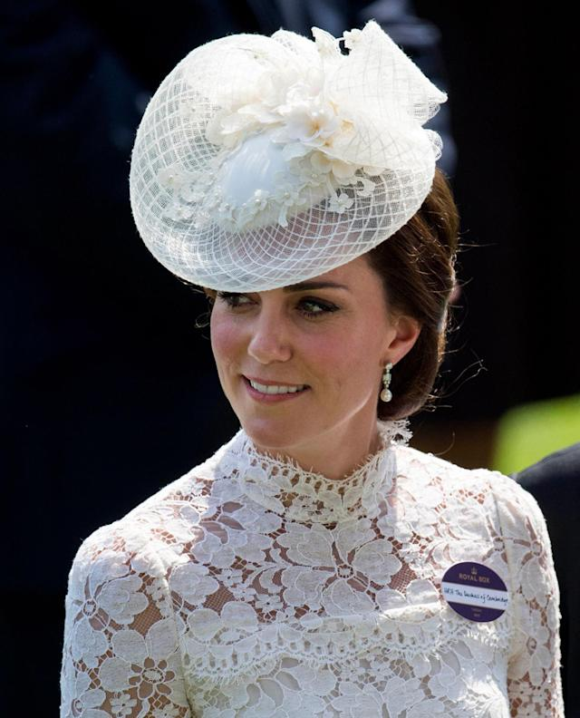 <p>Catherine, The Duchess of Cambridge at Royal Ascot Day 1 at Ascot Racecourse on June 20, 2017. (KGC-178/STAR MAX/IPx via AP) </p>