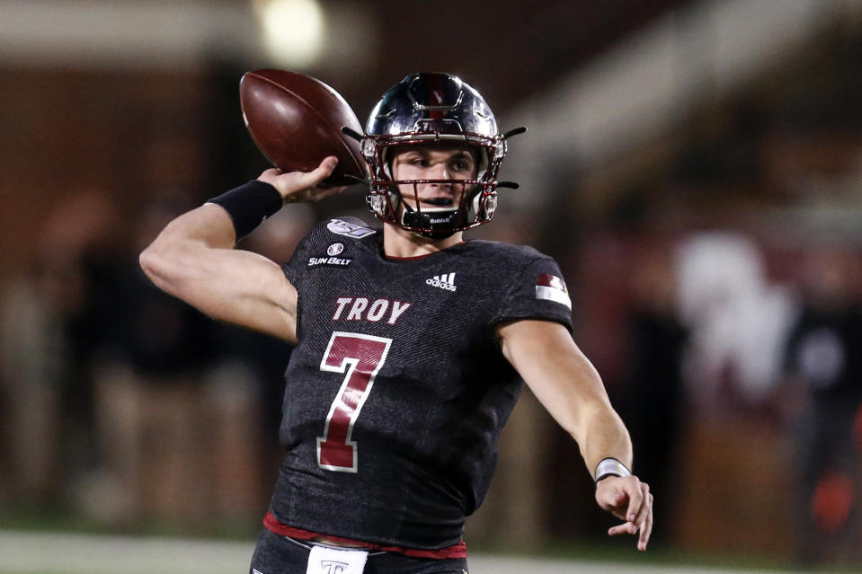 Troy quarterback Kaleb Barker throws a pass during the first half of the team's NCAA college football game against Appalachian State on Friday, Nov. 29, 2019, in Troy, Ala. (AP Photo/Butch Dill)