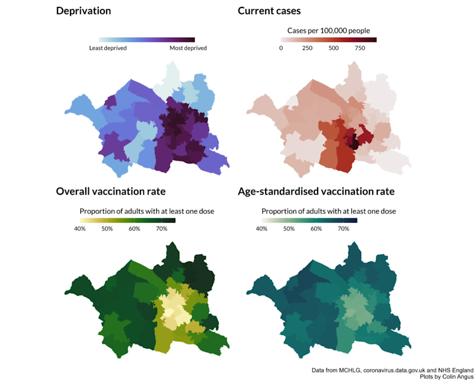 Maps showing deprivation, case numbers, and vaccination rates in BoltonColin Angus