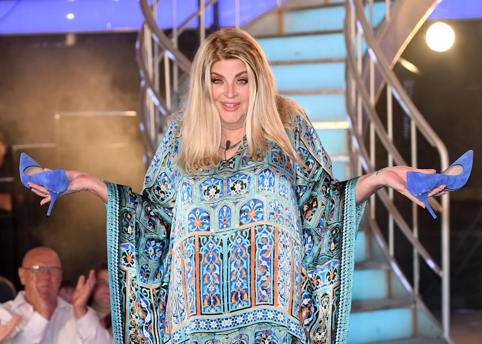 BOREHAMWOOD, ENGLAND - SEPTEMBER 10:  Kirstie Alley is evicted and comes second during the Celebrity Big Brother final 2018 at Elstree Studios on September 10, 2018 in Borehamwood, England.  (Photo by Karwai Tang/WireImage)