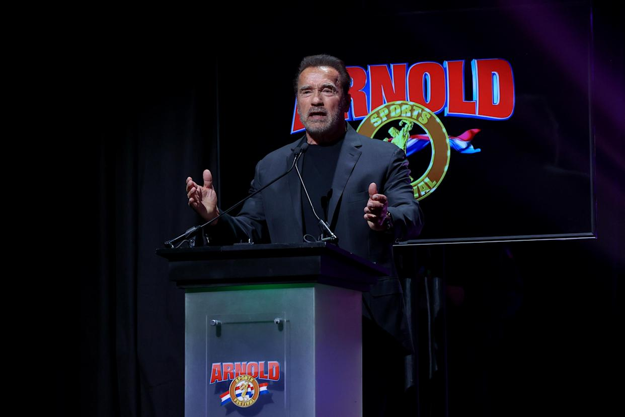 Arnold Schwarzenegger addressing the crowd at the Arnold Sports Festival on March 6, 2020 in Columbus, Ohio
