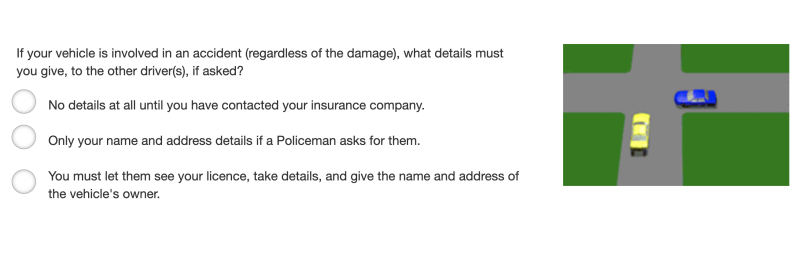 A question on the NSW learner driving test about an accident.