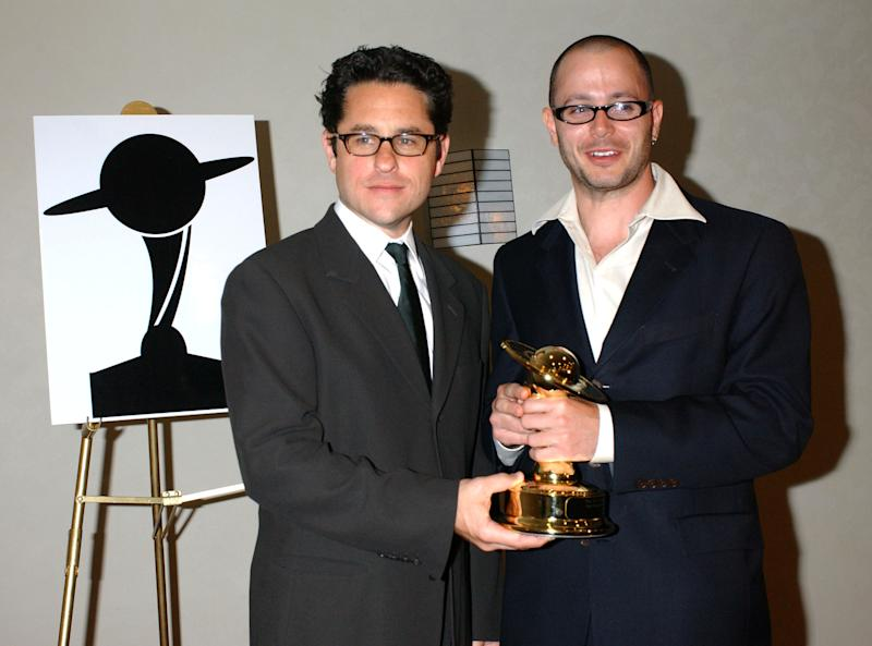 "J.J. Abrams and Damon Lindelof, winners for Best Network Television Series for ""Lost"" (Photo by Albert L. Ortega/WireImage)"