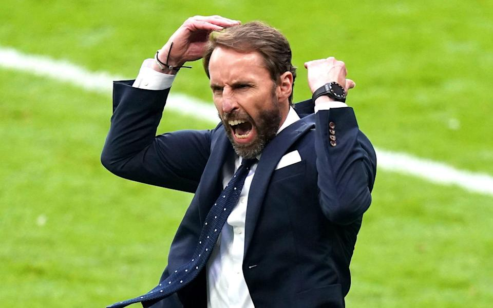 England manager Gareth Southgate celebrates his side's second - PA