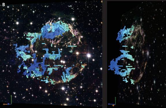 A telescopic image of Cassiopeia A is overlaid with data from the new observations that show the structure of the cavities inside the supernova remnant. The shaed of blue indicates how quickly the material is moving away from Earth, with dark b