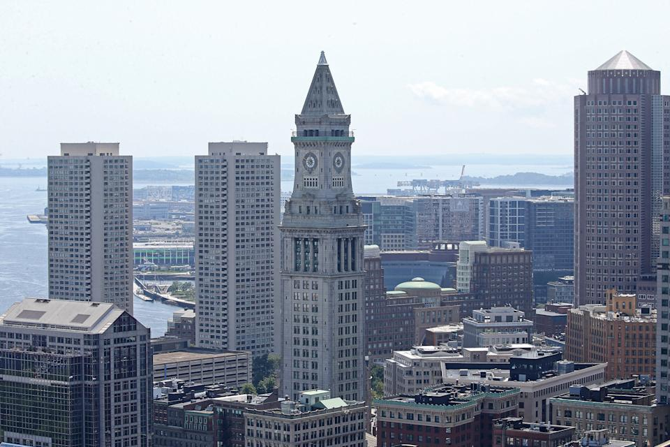 BOSTON, MA. - JULY 15:  The Customs House tower. General views of the skyline from 1 Congress St. on July 15, 2021 in , Boston, MA. (Photo By Stuart Cahill/MediaNews Group/Boston Herald via Getty Images)