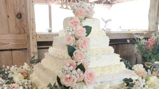 PHOTO: A wedding cake made from white sheet cakes from Costco and fresh flowers from Trader Joe's. (Jessica Hoyle-King)