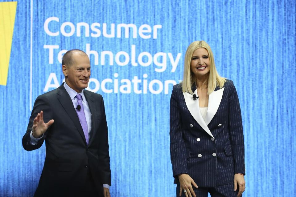 Ivanka Trump, right, the daughter and senior adviser to U.S. President Donald Trump, smiles at the crowd after being interviewed by Gary Shapiro, left, CEO of the Consumer Technology Association, during the CES tech show Tuesday, Jan. 7, 2020, in Las Vegas. (AP Photo/Ross D. Franklin)