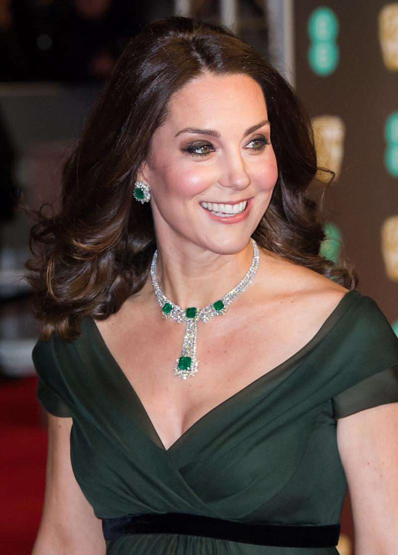 Catherine, the Duchess of Cambridge, arrives at the BAFTAs on Sunday. (Samir Hussein via Getty Images)
