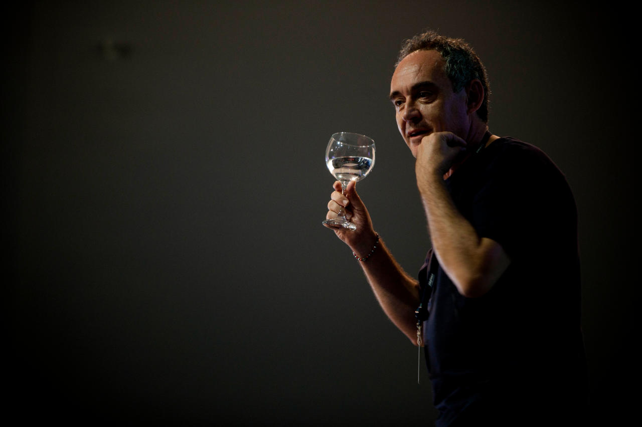 FILE - In this July 12, 2011 file photo, Spanish chef Ferran Adria speaks during a conference about culinary innovation at the annual 'Campus Party' in Valencia, Spain. El Bulli, one of the world's most acclaimed and award-winning eateries, is preparing to serve its last supper before closing. After a final dinner for staff families on Saturday, July 30, 2011, Adria will begin work on turning the restaurant into a food foundation he hopes to open in 2014. (AP Photo/Fernando Bustamante, file)