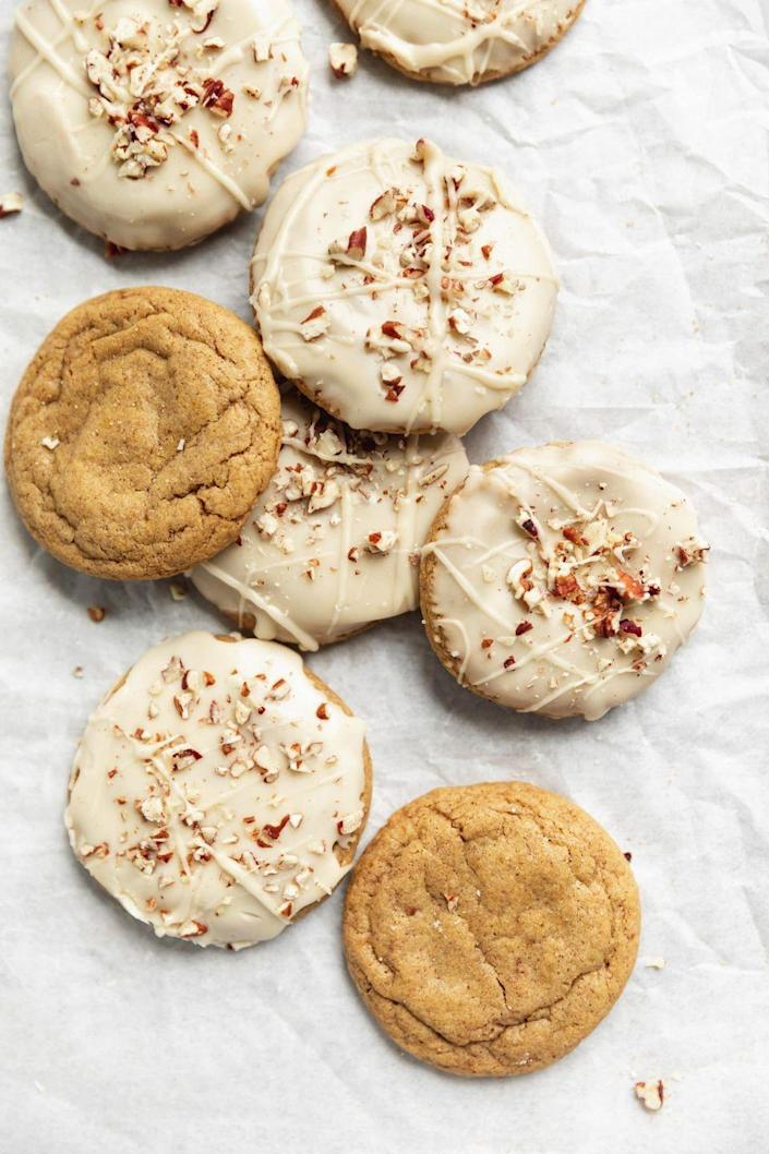 """<p>These soft, chewy cookies are covered in a salty-sweet maple icing. You can also enjoy them plain!</p><p><strong>Get the recipe at <a href=""""https://bromabakery.com/soft-pumpkin-cookies-with-salted-maple-icing/"""" rel=""""nofollow noopener"""" target=""""_blank"""" data-ylk=""""slk:Broma Bakery"""" class=""""link rapid-noclick-resp"""">Broma Bakery</a>.</strong> </p>"""