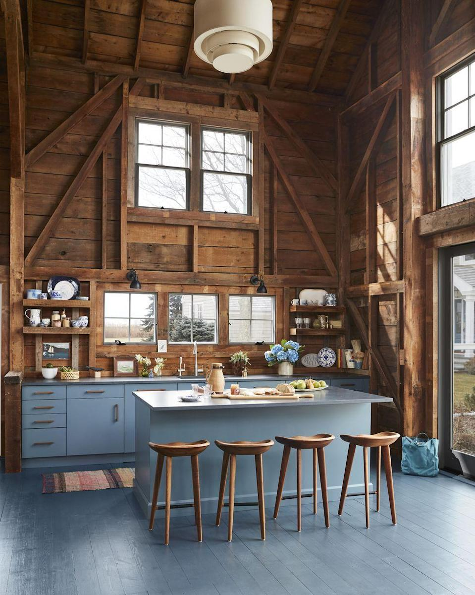 "<p>We know the rustic look has been around for a long time now, but if you pair it with a pop of fresh paint like <a href=""http://hadleywiggins.com/"" rel=""nofollow noopener"" target=""_blank"" data-ylk=""slk:Designer Hadley Wiggins-Marin"" class=""link rapid-noclick-resp"">Designer Hadley Wiggins-Marin</a> did here, you can really and modernize redefine that rustic look. </p>"