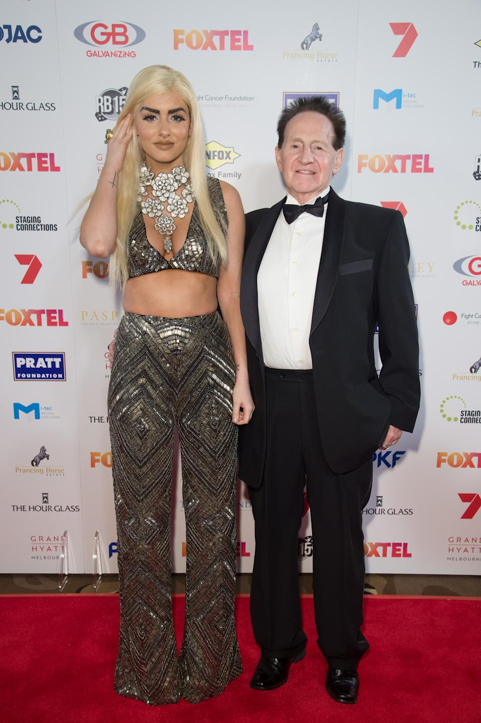 Geoffrey Edelsten and Gabi Grecko arrive ahead of the Red Ball 2015 at the Grand Hyatt on September 5, 2015 in Melbourne