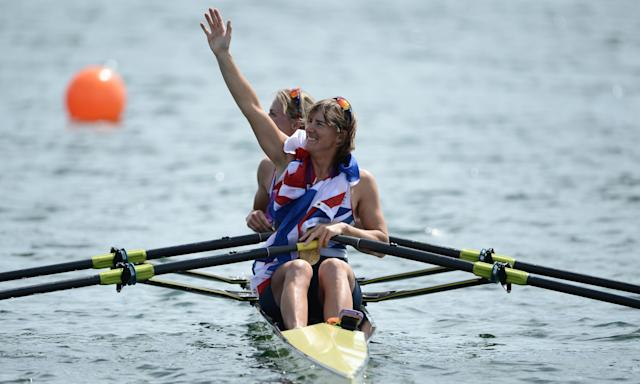 Katherine Grainger celebrates winning Olympic gold with Anna Watkins in the double sculls at London 2012. The five-time Olympic medallist is now the chair of UK Sport.