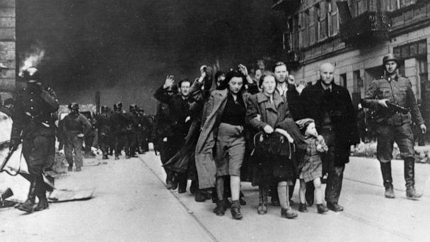 PHOTO: In this 1943 file photo, a group of Polish Jews are led away for deportation by German SS soldiers during the destruction of the Warsaw Ghetto by German troops after an uprising in the Jewish quarter. (AP)