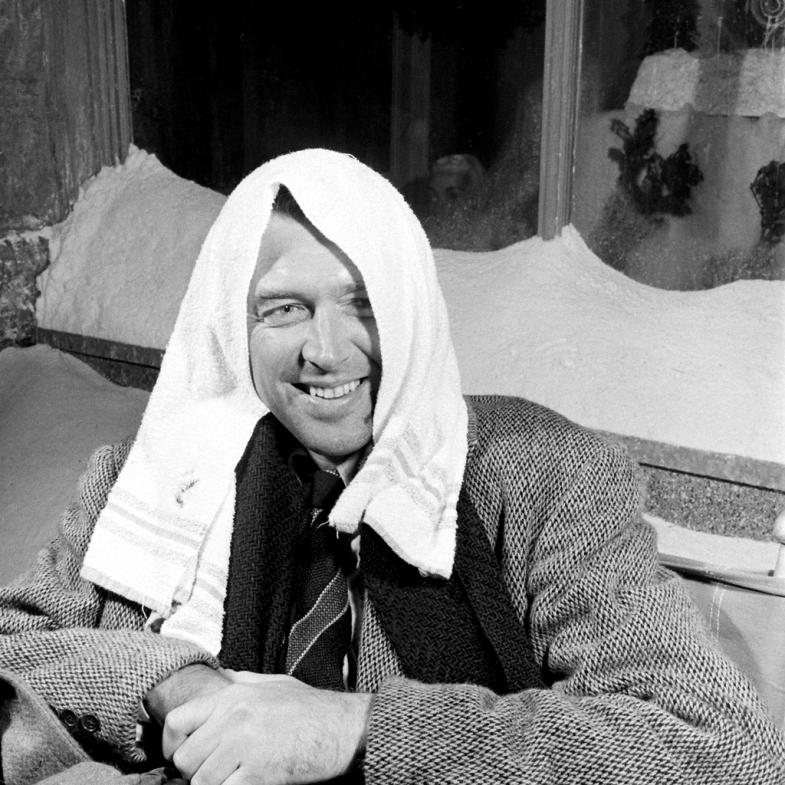 Jimmy Stewart dries off.