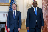 Secretary of State Antony Blinken, and Defense Secretary Lloyd Austin pose for a group photograph with Australian Minister of Defense Peter Dutton and Australian Foreign Minister Marise Payne at the State Department in Washington, Thursday, Sept. 16, 2021. (AP Photo/Andrew Harnik, Pool)