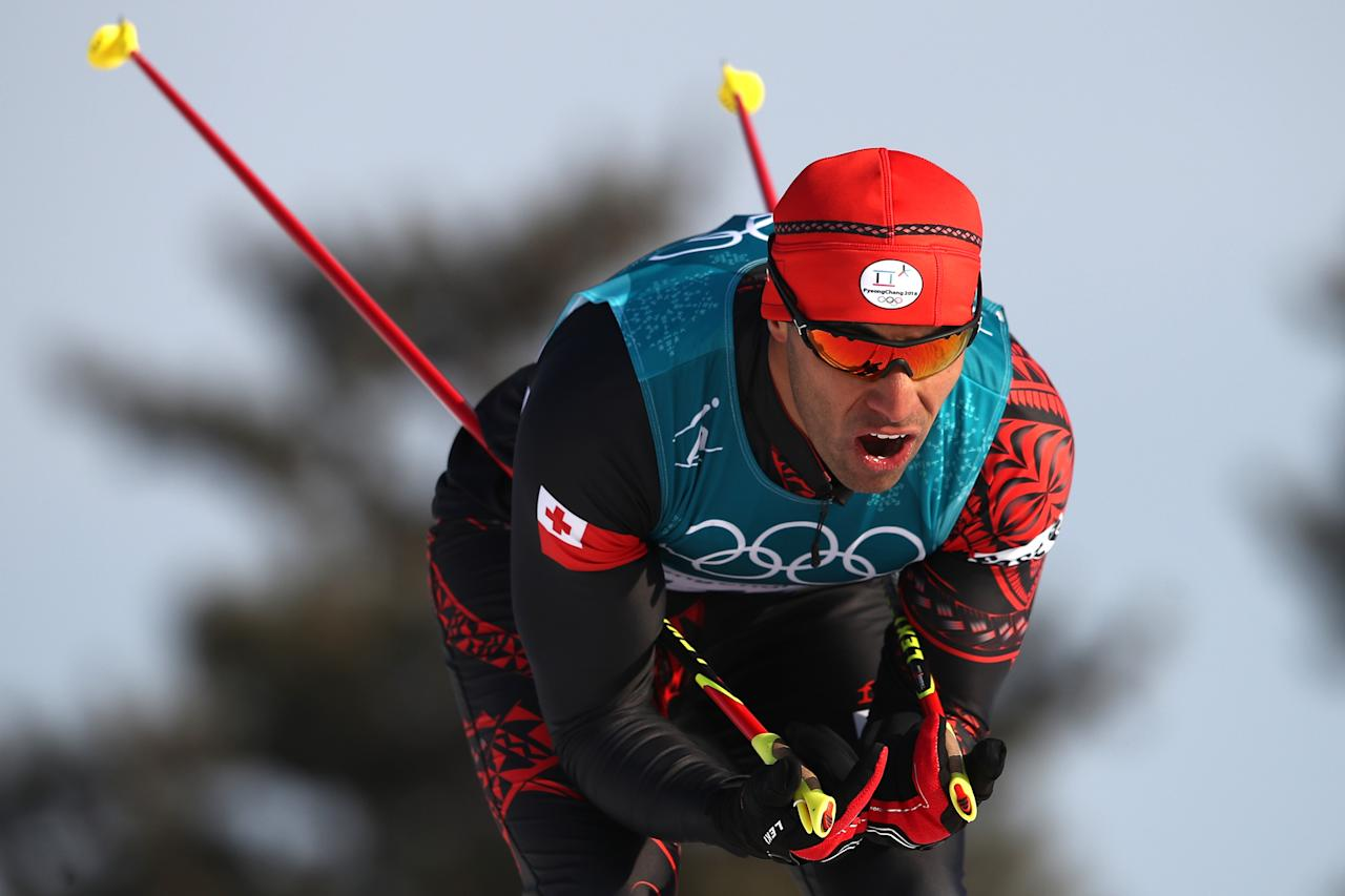 <p>Taufatofua returned two years later, once again carrying the flag for Tonga at the PyeongChang Winter Olympics, where he competed in cross country skiing. He competed in the 15km freestyle race, finishing 114th out of 119. (Getty) </p>
