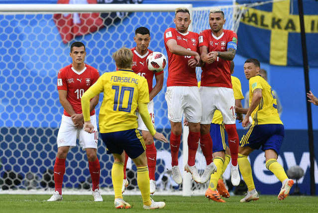 <p>Sweden's Emil Forsberg kicks a free kick during the round of 16 match between Switzerland and Sweden at the 2018 soccer World Cup in the St. Petersburg Stadium, in St. Petersburg, Russia, Tuesday, July 3, 2018. (AP Photo/Martin Meissner) </p>