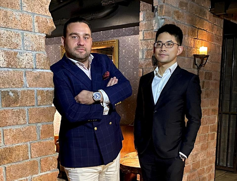 Murray Holdgate, left, general partner at the Rare Single Malts fund, and Freeman Ho, whisky specialist at Rare Finds Worldwide. Photo: Handout