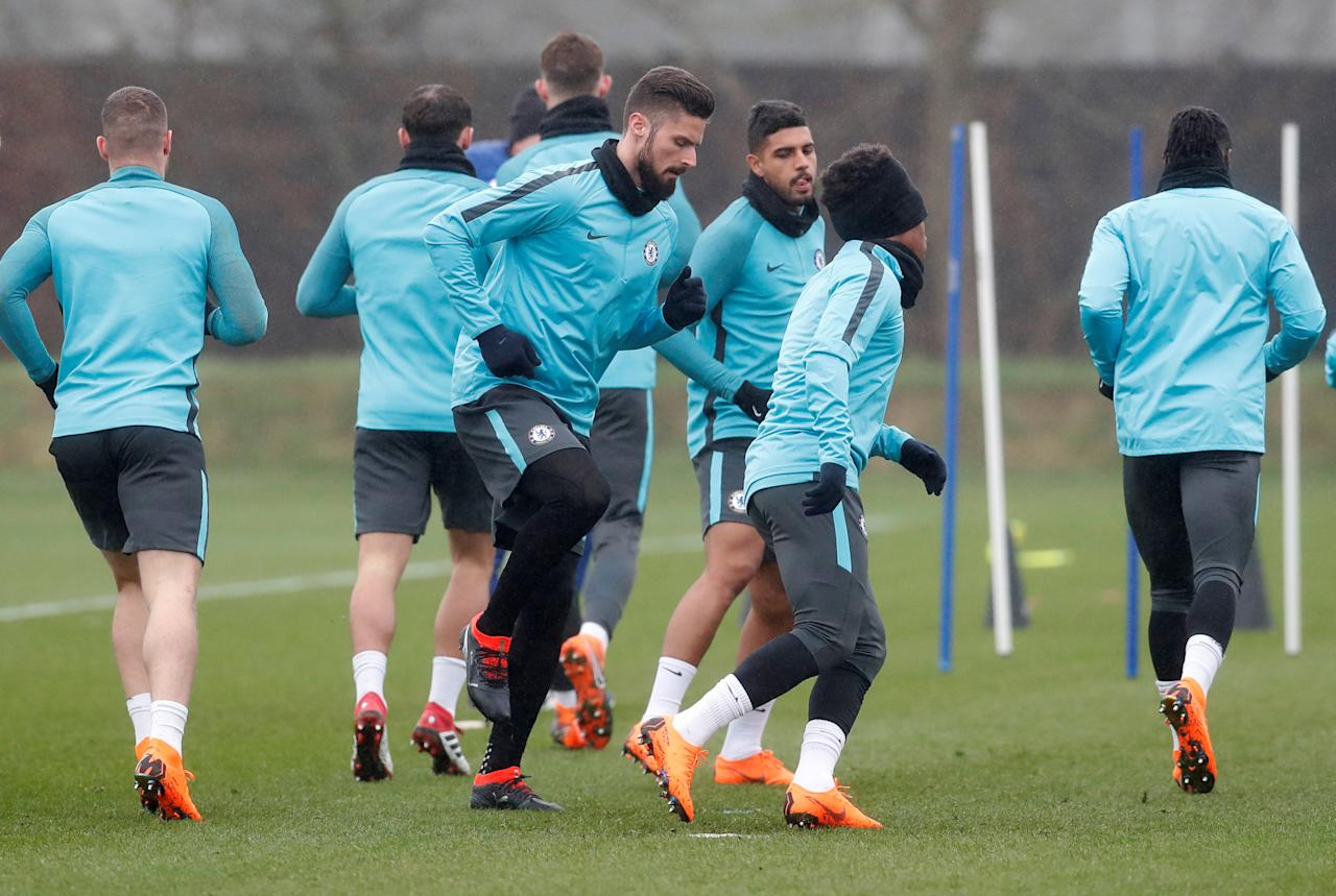 Soccer Football - Champions League - Chelsea Training - Cobham Training Ground, London, Britain - February 19, 2018   Chelsea's Olivier Giroud and team mates during training   Action Images via Reuters/Matthew Childs