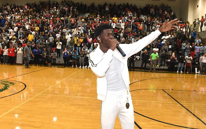 Lil Nas X makes a surprise visit to his former high school during Hot 107.9 Pep Rally at Lithia Springs High School on September 10, 2019 in Lithia Springs, Georgia.